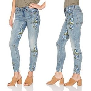Floral Embroidered Jeans Blank NYC Raw Hem